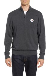 Cutter And Buck Big Tall Pittsburgh Steelers Lakemont Regular Fit Half Zip Sweater Charcoal Heather