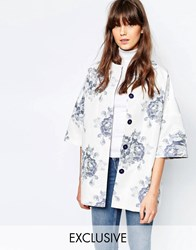 Helene Berman Kimono Coat In Blue And White Large Floral White