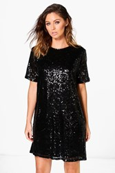 Boohoo Lacey Sequin T Shirt Dress Black
