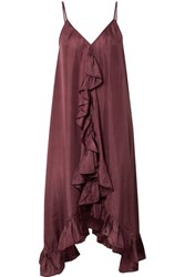 Mes Demoiselles Pamina Ruffled Silk Voile Dress Plum Gbp
