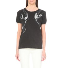 Allsaints Swooping Mazzy Cotton Jersey T Shirt Faded Black