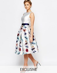 Chi Chi London Full Prom Skater Dress In Floral Print Multi Floral