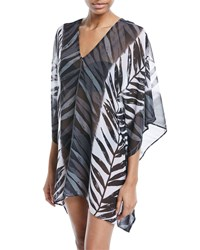 Carmen Marc Valvo Leaf Print Sheer Caftan Coverup Black