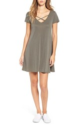 Socialite Women's Cross Front T Shirt Dress Olive