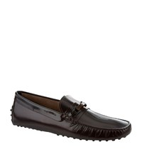 Tod's Wood Clamp Leather Driver Shoe Male Wine