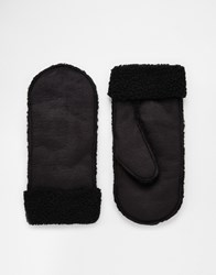 Asos Mittens In Black Faux Shearling