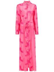 Amir Slama Embroidered Silk Beach Dress Pink And Purple