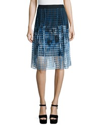 Elie Tahari Dillan Printed Laser Cut Midi Skirt Women's Warrior