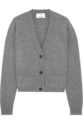 Allude Cropped Cashmere Cardigan Dark Gray