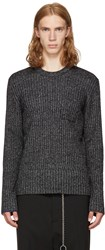 Maison Martin Margiela Black And Off White Ribbed Sweater