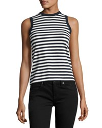 Derek Lam Striped Crewneck Tank Top Black White Multi Pattern