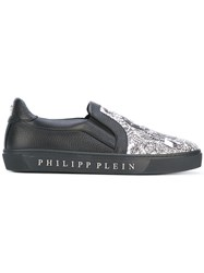Philipp Plein Green Bay Sneakers Men Leather Rubber 40 Black