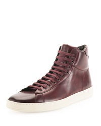 Tom Ford Russel Leather High Top Sneaker Burgundy