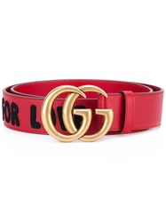 Gucci 'Gg' Embellished Belt Women Leather 90 Red