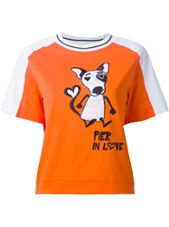 I'm Isola Marras Isola Marras Embroidered Dog Patch T Shirt Yellow And Orange