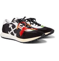 Off White Leather Trimmed Shell And Suede Sneakers Black