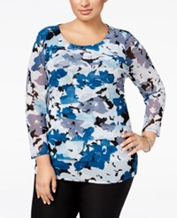 Alfani Plus Size Tiered Printed Mesh Top Only At Macy's Floral Movement Chambray
