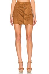 Lucca Couture Suede Skirt Tan