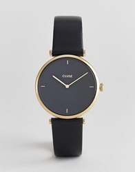 Cluse Triomphe Cl61006 Leather Strap Watch In Black