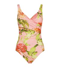Maryan Mehlhorn Floral Crossover Swimsuit Female Pink