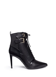 Sergio Rossi Elastic Lace Up Leather Ankle Boots Black