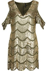W118 By Walter Baker Marika Cutout Sequined Crepe De Chine Mini Dress Army Green