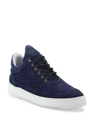 Filling Pieces Quilted Diamond Leather Low Top Sneakers Navy