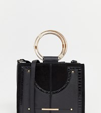 River Island Cross Body Bag With Grab Handle In Black