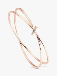 Karen Millen Swarovski Crystal Interlinked Double Slim Bangle Rose Gold