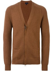 Lanvin Zip Detail Knit Cardigan Brown