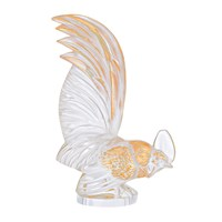 Lalique Bantam Rooster Paperweight Gold Stamped