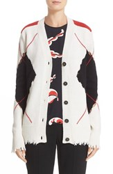 Msgm Women's Distressed Argyle Cardigan