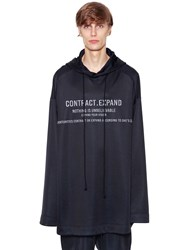 Juun.J Oversize Hooded Cotton Sweatshirt Navy