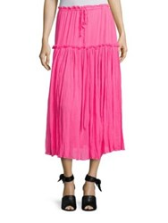 Apiece Apart Dulce Accordion Silk Midi Skirt Zinc Pink