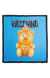 Moschino Women's Bear Print Silk Scarf Fantasy Print Light Blue