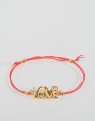 Ted Baker Leyyda Love Kiss Cord Bracelet Red Gold