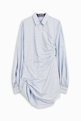 Jacquemus Check Wrap Shirt Dress Blue