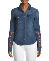 Etienne Marcel Long Sleeve Snap Front Stretch Denim Shirt W Floral Embroidery Dark Blue
