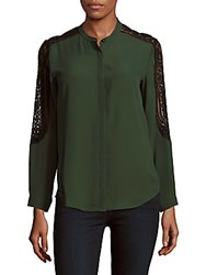 The Kooples Floral Lace Long Sleeve Shirt Green