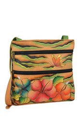 Anuschka Hand Painted Leather Small Double Zip Travel Crossbody Multi
