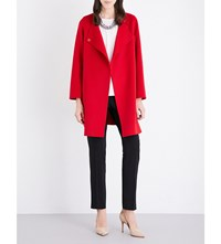 Armani Collezioni V Neck Wool And Cashmere Blend Coat Red