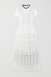Maje Tiered Ruffled Swiss Dot Tulle Maxi Dress White