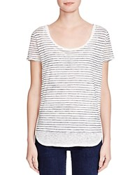 Majestic Striped Double Layer Tee Lait Navy