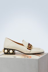 Gucci Leather Mid Heel Loafer White