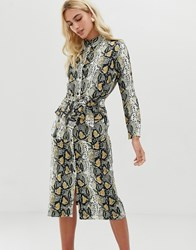 Zibi London Snake Print Shirt Midi Dress With Belt Detail Beige