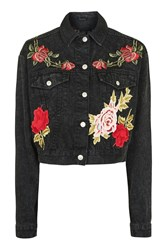 Topshop Moto Luxe Rose Jacket Washed Black