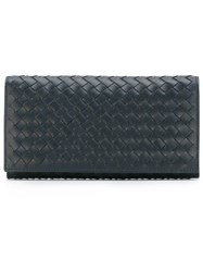 Bottega Veneta Interlaced Continental Wallet Blue