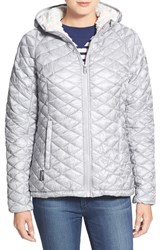 Women's Steve Madden 'Glacier Shield' Faux Fur Trim Hooded Jacket Silver