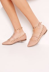 Missguided Studded Strap Flat Shoes Nude Beige