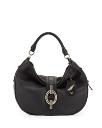 Diane Von Furstenberg Sutra Grained Leather Hobo Bag Black